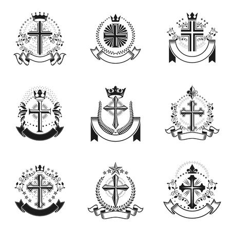 Ensemble d'emblèmes de croix chrétienne. Collection d'illustrations vectorielles de logos décoratifs héraldiques armoiries. Logo