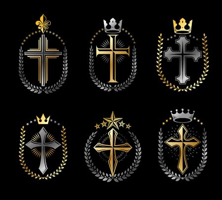 Crosses of Christianity emblems set. Heraldic vector design elements collection. Retro style label, heraldry logo. Vettoriali
