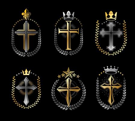 Kreuze des Christentums Embleme gesetzt. Heraldische Vektorentwurfselementsammlung. Retro-Stiletikett, Heraldik-Logo.