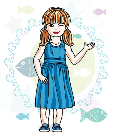 Little redhead girl cute child toddler in casual clothes standing on marine backdrop with ocean and fishes. Vector pretty nice human illustration. Ilustração