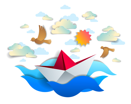 Paper ship swimming in sea waves, origami folded toy boat floating in the ocean with beautiful scenic seascape with birds and clouds in the sky, vector illustration. Illustration