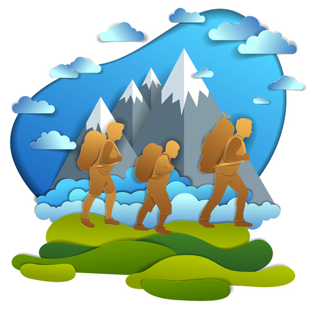 Young active family hiking to nature with mountain range, father, mother and son. Vector illustration of beautiful summer scenic landscape, clouds and peaks in the sky, summer holidays.