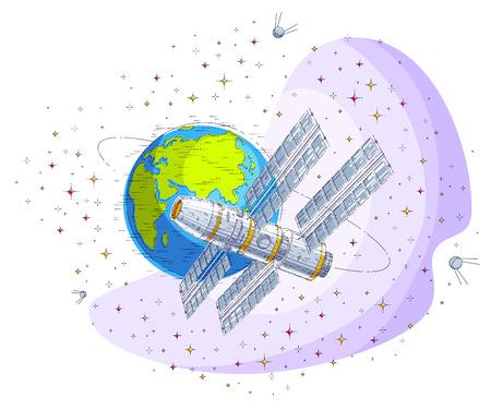 Raumstation fliegt Orbitalflug um die Erde, Raumschiff iss mit Sonnenkollektoren, künstlicher Satellit, umgeben von Sternen und anderen Elementen. Dünne Linie 3D-Vektor-Illustration.