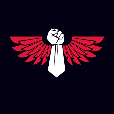 Vector symbol created using clenched fist of athletic strong man and eagle wings. Sport team emblem.
