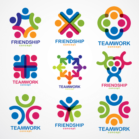 Teamwork and friendship concepts created with simple geometric elements as a people crew. Vector icons or logos set. Unity and collaboration ideas, dream team of business people colorful designs. Illustration