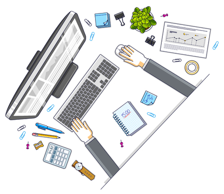 Office employee or entrepreneur work desk workplace with hands and PC computer and diverse stationery objects for work, top view. All elements are easy to use separately. Vector illustration. 向量圖像