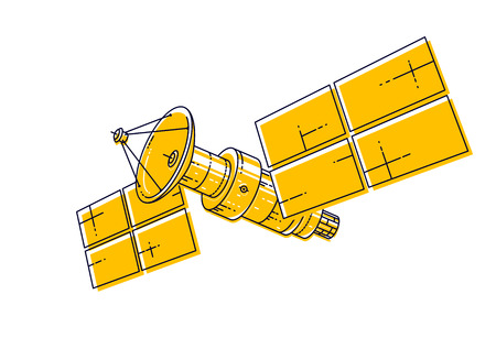 Artificial orbital satellite floating in weightlessness in open space, spacecraft space station, science and communication technology. Thin line 3d vector illustration isolated on white background. 向量圖像