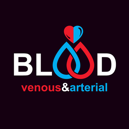 Arterial and venous blood, blood circulation conceptual vector illustration. Cardiology medical care vector emblem for use in pharmacy.