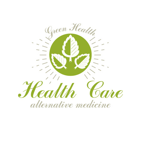 Green spring leaves vector graphic symbol for use in healthcare business. Vegetarian lifestyle conceptual logotype. Imagens - 111259712