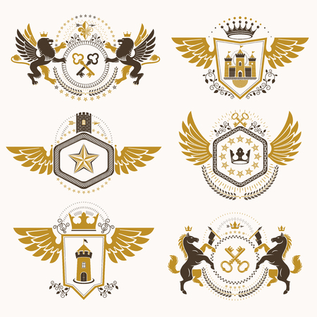 Vintage decorative heraldic vector emblems composed with elements like eagle wings, religious crosses, armory and medieval castles, animals. Collection of classy symbolic illustrations. Vettoriali