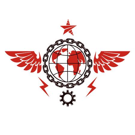 Emblema vectorial compuesto con un globo terráqueo rodeado con equipo industrial y decorado con una estrella pentagonal. Símbolo abstracto de la revolución social proletaria, utopía totalitaria.