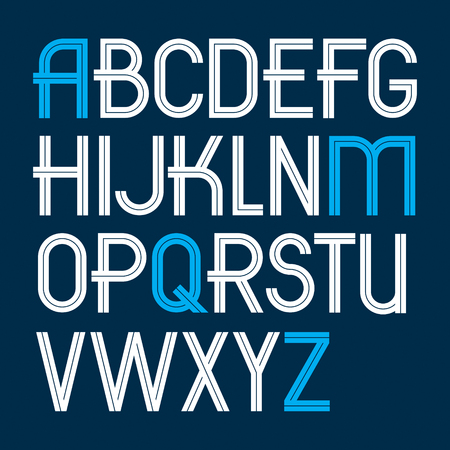 Set of vector upper case English alphabet letters created with white stripes, for use in logo design for news and broadcasting company