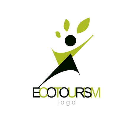 Vector illustration of excited abstract  man with raised reaching up. Ecotourism conceptual logo. Wellness and harmony symbolic symbol.  イラスト・ベクター素材