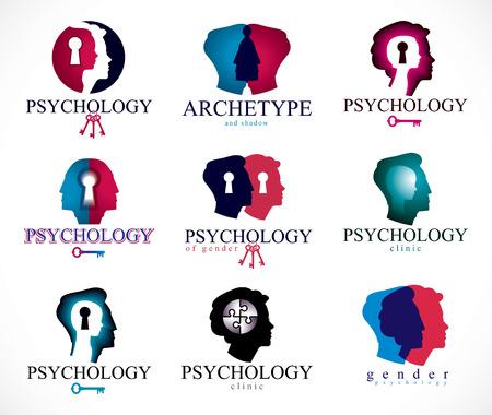 Psychologie, cerveau humain, psychanalyse et psychothérapie, problèmes relationnels et de genre, personnalité et individualité, neurologie cérébrale, santé mentale. Icônes vectorielles ou ensemble de logos.