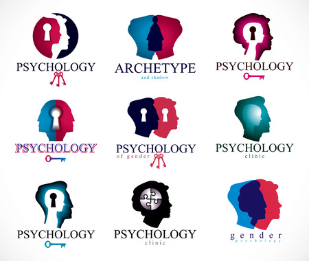 Psychology, human brain, psychoanalysis and psychotherapy, relationship and gender problems, personality and individuality, cerebral neurology, mental health. Vector icons or logos set.