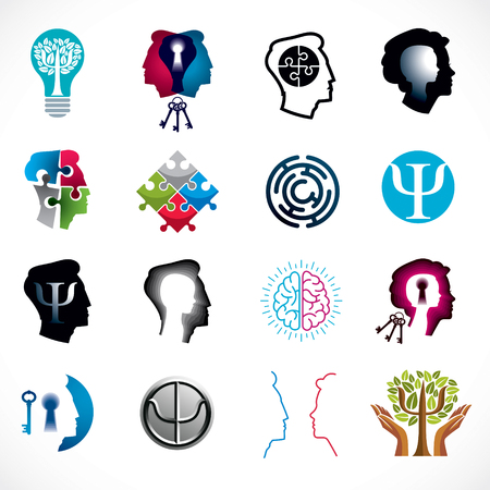 Psychology, human brain, psychoanalysis and psychotherapy, relationship and gender problems, personality and individuality, cerebral neurology, mental health. Vector icons or logos set. Stok Fotoğraf - 111260412