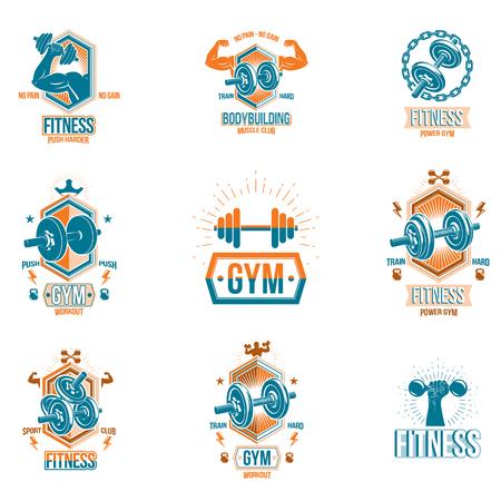 Vector die Eignungs- und Leichtathletikthemasymbole und Motivpostersammlung, die unter Verwendung der Dummköpfe, der Kesselglockensportausrüstung und der Bodybuilderkörperformen verfasst werden. Vektorgrafik