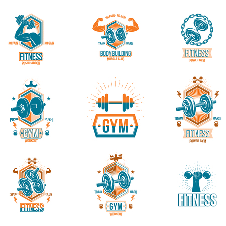 Vector fitness and athletics theme symbols and motivational posters collection composed using dumbbells, kettle bells sport equipment and bodybuilder body shapes. Vector Illustratie