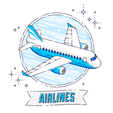 Plane airliner with round shape and ribbon with typing, airlines air travel emblem or illustration. Beautiful thin line vector isolated over white background. 向量圖像