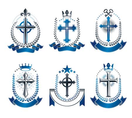 Christian Crosses Embleme gesetzt. Heraldische Vektorgestaltungselementsammlung. Retro-Label, Wappenkunde-Logo.