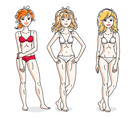 Happy attractive young women standing in colorful bikini. Vector people illustrations set.