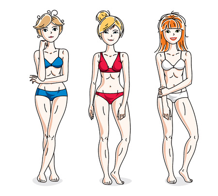 Happy attractive young women standing in colorful bikini. Vector people illustrations set. Slim female with perfect body.