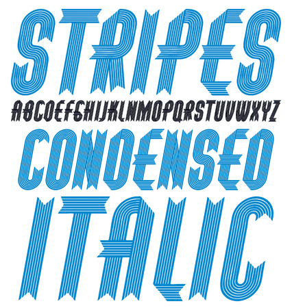Set of ornate vector upper case English alphabet letters isolated. Trendy italic condensed bold font, script from a to z can be used in poster creation. Made with stripy decoration.