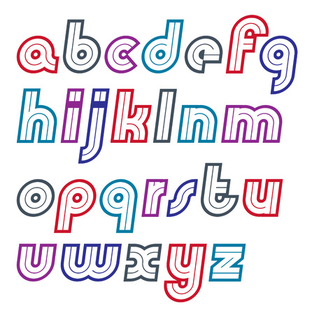 Vector retro bold lower case English alphabet letters collection, can be used as logo design elements
