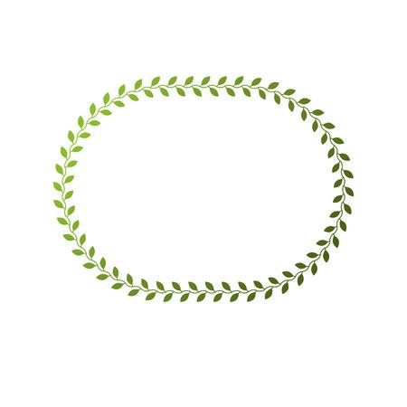 La struttura circolare di vettore vittoriano di arte con lo spazio in bianco della copia ha creato usando la decorazione floreale e le foglie verdi. Illustrazione del modello araldico. Vettoriali