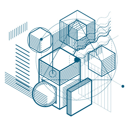 Isometric linear abstract vector background, lined abstraction. Cubes, hexagons, squares, rectangles and different abstract elements.