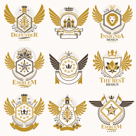 Collection of vector heraldic decorative coat of arms isolated on white and created using vintage design elements, monarch crowns, pentagonal stars, armory, wild animals. Ilustração