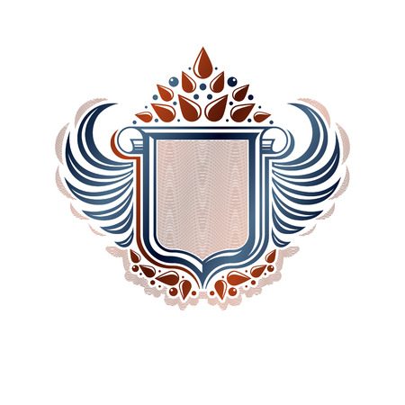 Blank heraldic coat of arms decorative emblem with copy space and cartouche. Empty winged protection shield emblem created with lily flower, isolated vector illustration.