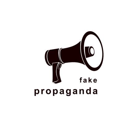 Loudspeaker vector logo isolated on white. Misleading and brainwashing information, fake news concept Illustration