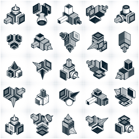 Different engineering constructions collection, abstract vectors set.
