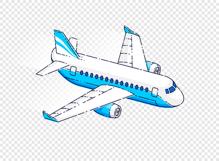 Flying plane passenger airliner isolated over transparent background, beautiful thin line 3d vector illustration.