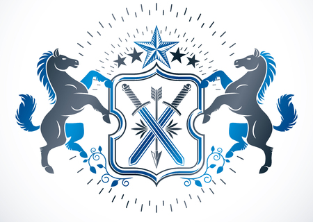 Old style heraldry, heraldic emblem, vector illustration composed using graceful horses, pentagonal stars and ancient swords.
