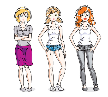 Attractive young women posing wearing casual clothes. Vector diversity people illustrations set.