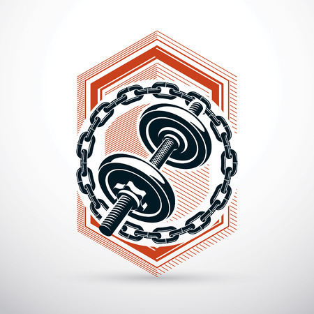 Dumbbell vector illustration surrounded by iron chain. Fitness workout and power lifting.