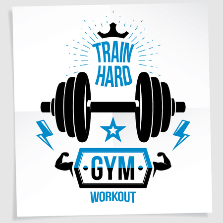 Weight-lifting championship vector promotion flyer created with disc weight dumbbell and royal crown. Train hard lettering.