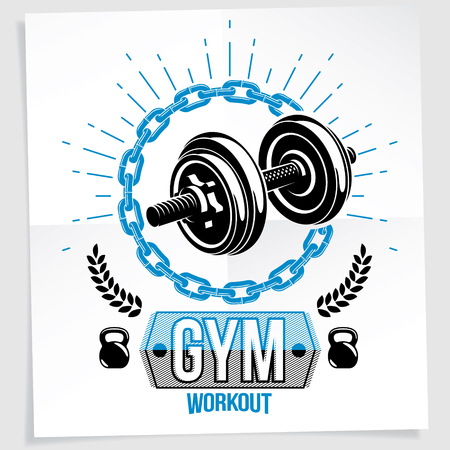 Sports center vector advertising poster made using disc weight dumbbell and kettle bell sport fitness and power lifting equipment.