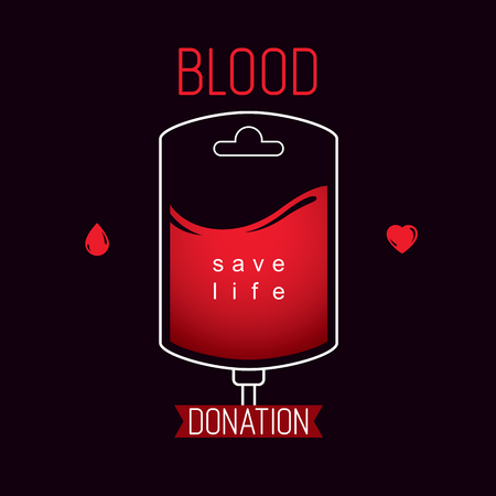 Blood bag vector graphic emblem. Blood donation conceptual logo. Medical theme graphic symbol.