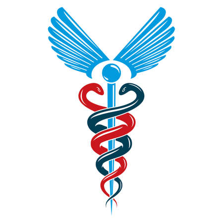 Caduceus symbol made using bird wings and poisonous snakes, healthcare conceptual vector illustration. Illustration