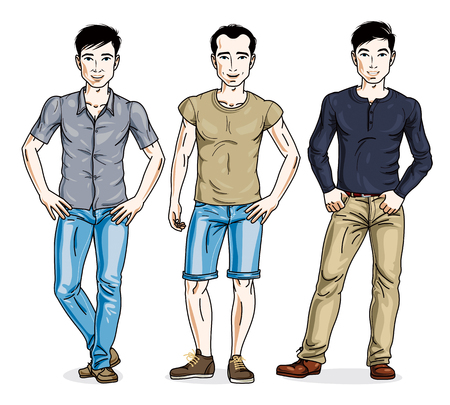 Handsome young men standing in stylish casual clothes. Vector diverse people illustrations set. Lifestyle theme male characters.  イラスト・ベクター素材