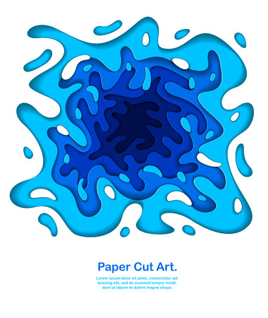 3D abstract blue background with paper cut shapes. Vector illustration in paper cut style. layout for business card, presentations, flyers or posters.