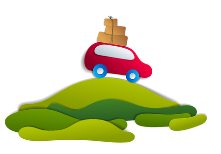 Red car with baggage in scenic nature landscape, green fields and trees, paper cut style vector illustration of summer holidays travel and tourism, family or friends.