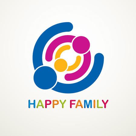 Happy family vector logo or icon created with simple geometric shapes. Tender and protective relationship of father, mother and child. Together as one system relations.  イラスト・ベクター素材