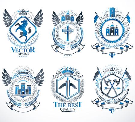 Armoiries héraldiques créées avec des éléments vectoriels vintage, des animaux, des tours, des couronnes et des étoiles. Collection d'emblèmes symboliques chics, set vector.