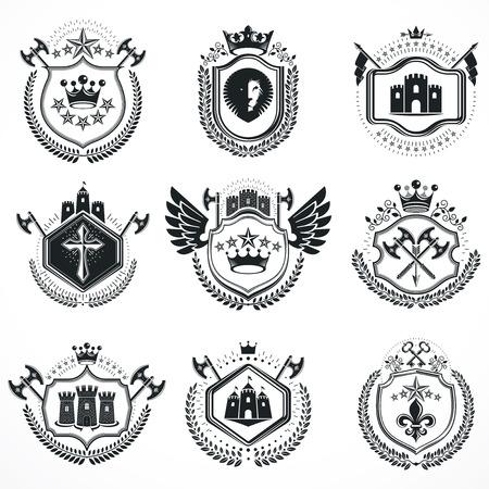 Heraldic designs, vector vintage emblems. Coat of Arms collection, vector set. Vecteurs