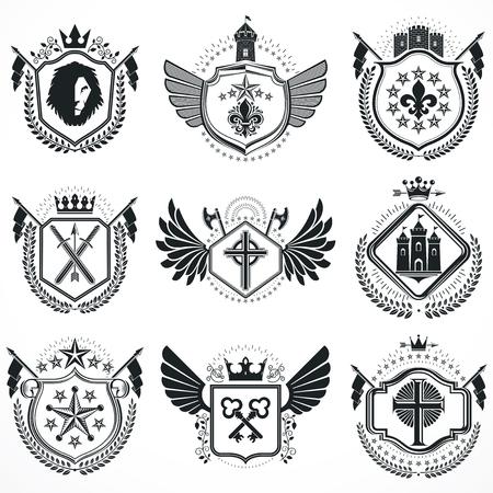 Heraldic designs, vector vintage emblems. Coat of Arms collection, vector set.