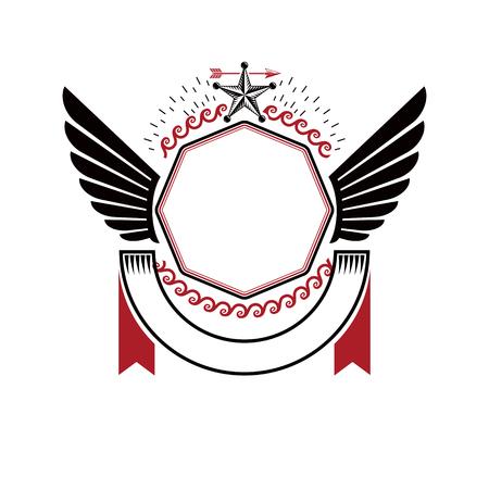 Emblème graphique ailé composé d'une étoile ancienne et d'une couronne de laurier. Élément de conception de vecteur héraldique. Étiquette de style rétro, logo héraldique.